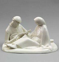 White glazed porcelain sculpture Russian Lovecouple design Ernst Barlach 1908 executed by Schwarzburger Werk-stätten für Porzellankunst / Germany ca.1995