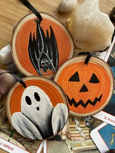 Halloween Box, Pumpkin, Ghost and Bat Hanging Wood Slices