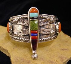 Inlaid sterlig silver Dragonfly cuff with Turquoise, Coral, Sugilite, & Lapis by Vernon A. Begaye, Navajo