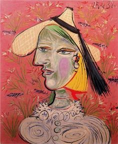 Woman with straw hat on flowery background - Pablo Picasso 1938