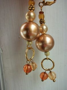 Chunky Pearl Earrings Chunky Bead Earrings Gold Crystal by mscenna, $9.00