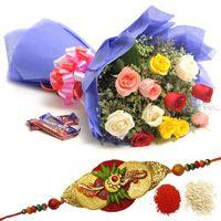 Mix Roses and  Chocolates-Rakhi