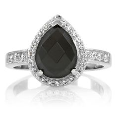 Onyx Pear Ring. So in love with this!
