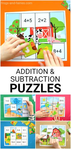 These are super colorful Addition and Subtraction to 20 Puzzles! There are 6 different puzzles in this printable and at least TWO different ways you can use them for fun learning! #printablesforkids #printableactivitiesforkids #mathforkids