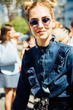Ruffles and trim on denim | New York fashion week street style 2016 | Girlfriend is Better