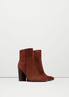 Botín piel tacón - Zapatos de Mujer | MANGO España