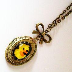 Plucky Little Ducky Cameo Locket  Antique Brass by glamasaurus, $22.00