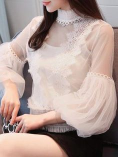 - ᙩlousҽs I Ꮭ❤vҽ❅ンɮ - Chiffon Tops, Chiffon Blouses, Lace Chiffon, Nice Dresses, Dresses For Work, Iranian Women Fashion, Sleeves Designs For Dresses, Fancy Tops, Western Wear For Women