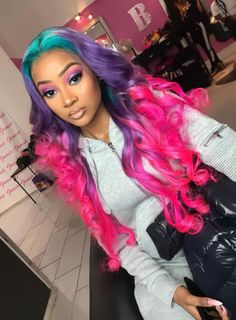 Green Purple and Pink hair color for Black Women Hairstyles Black Girls Hairstyles, Pretty Hairstyles, Fashion Hairstyles, Fashion Wigs, Fashion Women, Wig Styling, Curly Hair Styles, Natural Hair Styles, Cute Hair Colors