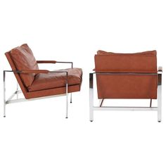 Milo Baughman for Thayer Coggin Chrome Leather Chairs | From a unique collection of antique and modern club chairs at http://www.1stdibs.com/furniture/seating/club-chairs/