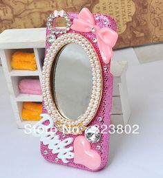Aliexpress.com : Buy Bling Pink Snake Pattern Cell Phone Case Cover For iPhone 5, with Bow Rhinestone and Makeup Cosmetic Mirror Decoration from Reliable Cover for iPhone5 suppliers on Cell Phone Case Rhinestone Button Bead Resin Craft Alloy Jewelry $9.90