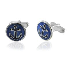 Sterling Silver Navy Anchor cufflinks in Royal Blue by LBB London. $225 on our website.   #luxury #sailing #boat #captain #jewelry #fashion #MensFashion #cufflinks