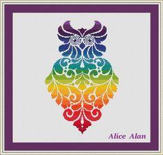 Cross Stitch Pattern Bird Owl rainbow and monochrome by HallStitch