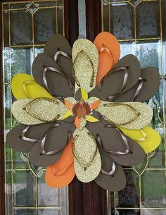Handmade Thanksgiving Flip Flop Wreath Turkey by TheFlipFlopDaisy, $50.00
