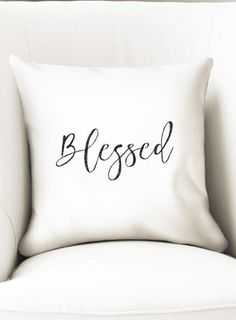 Only 2 left! Blessed decorative pillow cover for grandma or mom, as a gratefulness reminder of your blessings. This simple yet elegant throw pillow closes with a zipper and has black letters on a white pillow cover.  It works with 35cm or 14 fillers and it is made of microfiber polyester (soft feel).