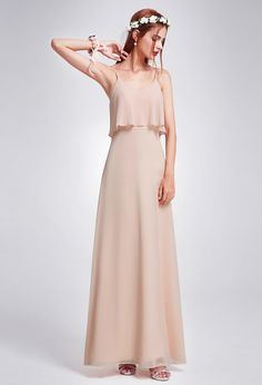 Ever Pretty Long Strappy Chiffon Bridesmaid Dresses Backless Evening Gowns 07131 , Bridesmaid Dresses Long Champagne, Romantic Bridesmaid Dresses, Long Wedding Dresses, Bridal Dresses, Bridesmaids, Party Dresses, Casual Summer Dresses, Casual Dresses For Women, Backless Evening Gowns
