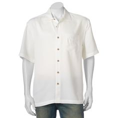 Men's Batik Bay Casual Button-Down Shirt, Size: Medium, Natural
