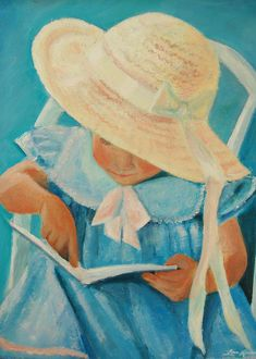 Learning To Read   Painting  by Lisa Konkol