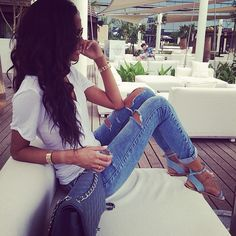 White Tee + Jeans + Matching Shoes & Bag