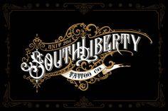 Handwritten logo for South Liberty tattoo shop on Behance Monogram Design, Lettering Design, Hand Lettering, Logo Design, Graphic Design, Vector Design, Icon Design, Design Design, Design Ideas