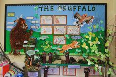 The Gruffalo classroom display. Picture books in classroom display Classroom Display Boards, Display Boards For School, Year 1 Classroom, Eyfs Classroom, Classroom Organisation, Classroom Displays, Teaching Displays, Class Displays, School Displays