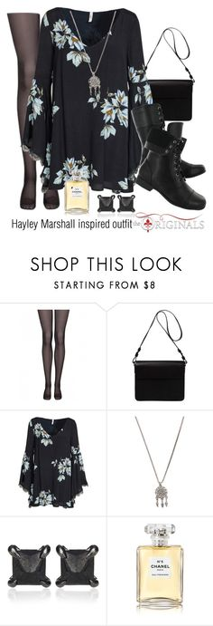 """Hayley Marshall inspired outfit/TO"" by tvdsarahmichele ❤ liked on Polyvore featuring Orla Kiely, Free People, Hush Puppies, With Love From CA, Eva Fehren and Chanel"
