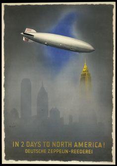 Zeppelin Poster, Advertising, Commercial Aviation, c. 1937