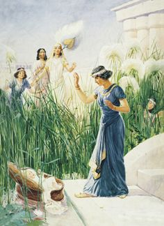 Old Testament. Pharaoh's daughter found baby Moses in a straw basket floating on the Nile River. She raised him as her own.  Exodus