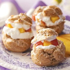 Spiced Peach Puffs Recipe -We always made cream puffs for special occasions when I was growing up in a family of seven. My favorite filling, then and now, is whipped cream and nutmeg-spiced peaches. —Agnes Ward, Stratford, Ontario