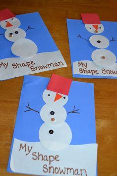 Mamas Like Me: Shape Snowmen.snowmen at night Preschool Christmas, Christmas Crafts For Kids, Christmas Activities, Craft Activities, Holiday Crafts, Preschool Winter, Winter Activities, Daycare Crafts, Classroom Crafts