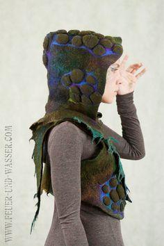 Felted vest Felted Clothing Felted Hood one by FeuerUndWasser