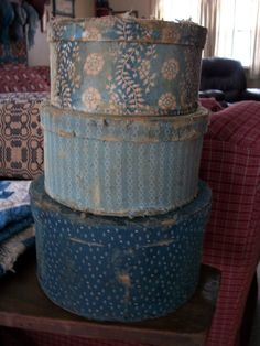 Primitive Blue Calico Cloth Covered Paper Mache Boxes....an Early, Old, Primitive LOOK. $50.00, via Etsy.