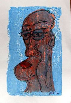 ARTFINDER: Chin by Steve Clement-Large - It's a man with a big chin ! This is ink line work on an acrylic paint monotype - hand coloured with acrylic.