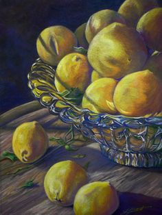 This drawing was done by Ann Kulberg in coloured pencil. I like this drawing,because It has a strong sense of colour palettes still hanging on the picture, for example the shadows that are used in the palette is dark blue. The lighter colours that were used for the lemons is light yellow, but sometimes they a little hints of white.