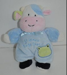 """Blue COW Baby Rattle FRIENDS TOGETHER Frog Prestige Soft Lovey 8"""" 18717 #Prestige http://stores.ebay.com/Lost-Loves-Toy-Chest/_i.html?image2.x=0&image2.y=0&_nkw=prestige"""