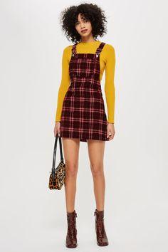 Check Corduroy Pinafore Dress #fashion #trends #plaid #fw18 #fashionweek