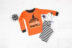 Getting Candy Wasted Infant & Toddler Halloween Pajamas - baby halloween pjs - fall pajamas for babies- pyjamas for babies and kids by TwinkleTwinkleTees on Etsy Halloween Pajamas, Toddler Halloween, Toddler Pajamas, Infant Toddler, The Floor Is Lava, Halloween Words, Retro Font, Black White Pink, Family Shirts