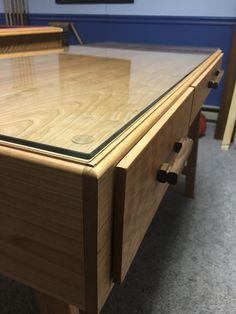 Beveled edge glass top Cherry Desk, Custom Design, Glass, Table, Top, Furniture, Home Decor, Decoration Home, Drinkware