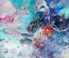 Have You Talked to the Bringer of the Snow?  Kerri Blackman https://www.etsy.com/listing/251871272/gestural-abstract-expressionist-colorful?ref=shop_home_active_1 Original artwork, wall, Interior decorating, gesture art, blue