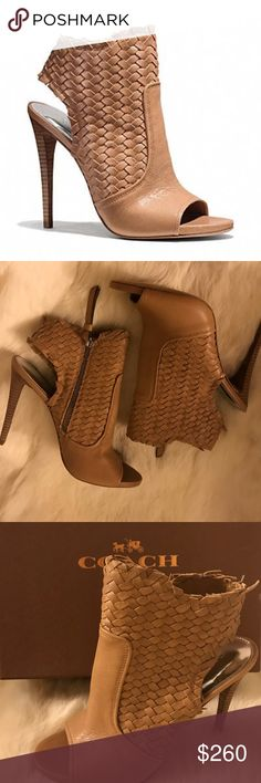 "604596deef12 Coach ""Julie"" Open Toe Heeled Bootie Beautifully Woven Supple Leather  Giving This Shoe Interest"