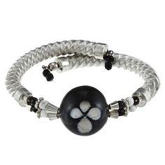 Wrap Bracelet with Black Glass Bead (India)
