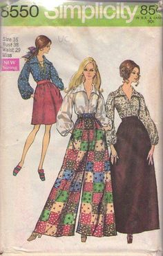 MOMSPatterns Vintage Sewing Patterns - Simplicity 8550 Vintage 60's Sewing Pattern SUPER FAB Mod Hostess Palazzo Pants, Wing Collar Blouse, Bell Shaped Short & Maxi Skirt Size 16