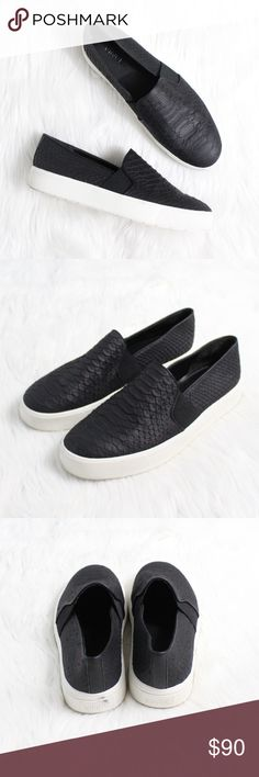 """VINCE Berlin Python Embossed Slip-On Sneaker Gently used condition!  Size: 7.5 Color: Black  An off-duty sneaker gets a tactile upgrade in python-embossed leather set off by a bold, contrast sole.  Timeless aesthetics meet modern sophistication in Vince's collections of iconic, wearable essentials—always focusing on distinctive design, enduring style and uncompromising quality.  1"""" platform. Leather upper and lining/rubber sole. By Vince; imported. Vince Shoes Sneakers"""