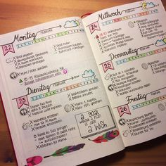 Bullet journal Wochenansicht