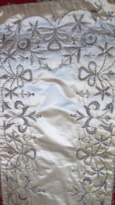 Antique Ottoman Islamic Cover Opulent Silver Metallic Embroidery