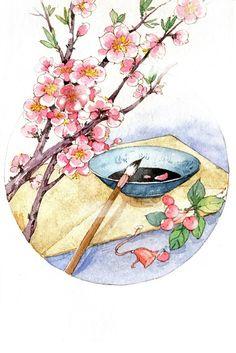 Japanese Illustration, Illustration Art, Cherry Blossom Art, Art Asiatique, China Art, Landscape Art, Japanese Art, Photo Art, Watercolor Paintings