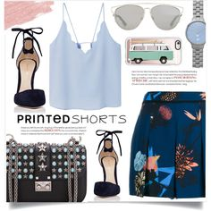 Printed Short by sonny-m on Polyvore featuring MANGO, Proenza Schouler, Gianvito Rossi, Valentino, Skagen, Christian Dior, Casetify, Jane Iredale, Summer and printedshorts