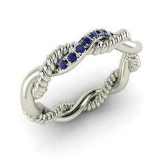 Round Sapphire  Wedding Ring in 14k White Gold