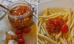 Rezepte You can make red pesto yourself – so a simple pasta dish becomes an exquisite meal. www. Pesto Dip, Pesto Pasta, Chutneys, Vegetarian Recipes, Cooking Recipes, Pampered Chef, Cool Kitchens, Meal Prep, Good Food