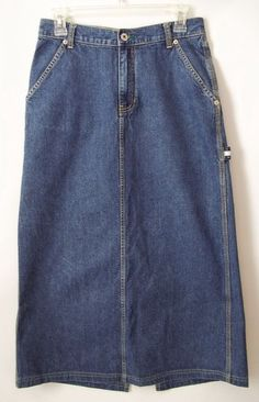 Tommy Jeans Hilfiger Jean Blue Denim Long Skirt Carpenter Size 5 Womens #TommyHilfiger #ALine
